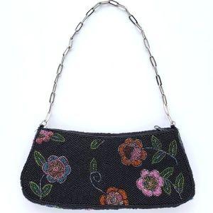 Vintage floral beaded purse handbag evening bag